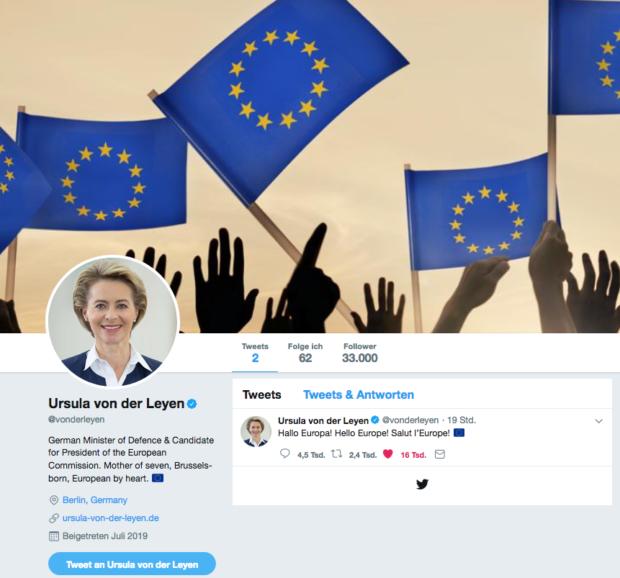 Ursula von der Leyen gibt sich auf Twitter europäisch