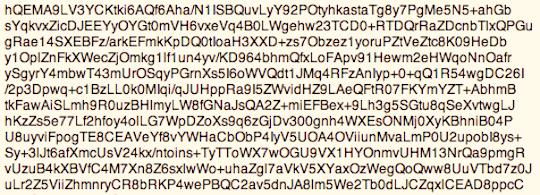 Auszug aus einer PGP-verschlüsselten Email.