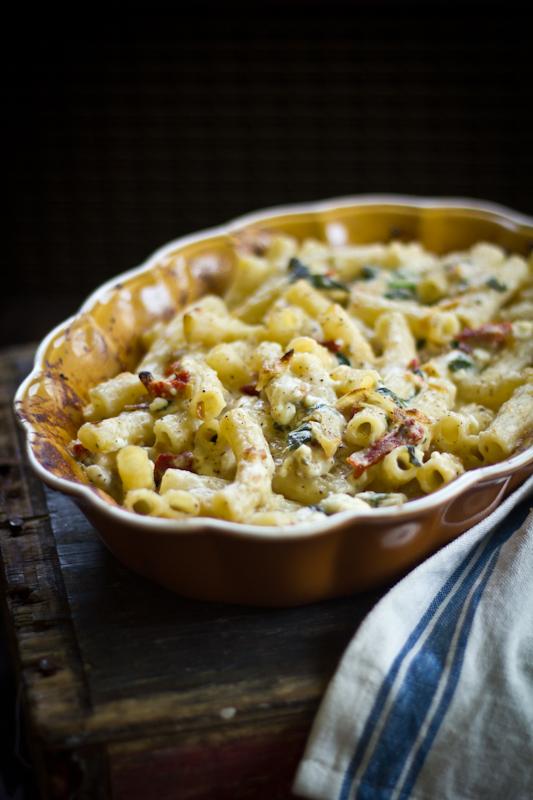 Greek Macaroni & Cheese with Roast Garlic Caramelized Leeks sun dried tomatoes and feta