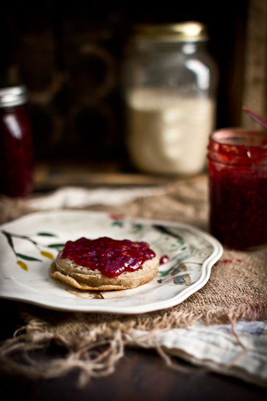 Red plum and raspberry jam
