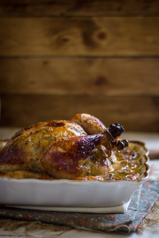 Roast Chicken with apricot habanero glaze