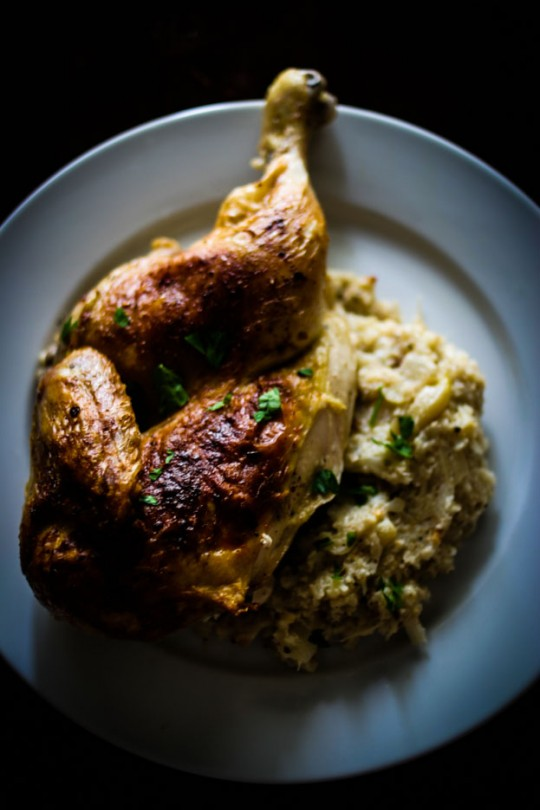 Roasted Chicken with Cauliflower Mash http://fortheloveofthesouth.com/2013/02/25/sunday-suppers/