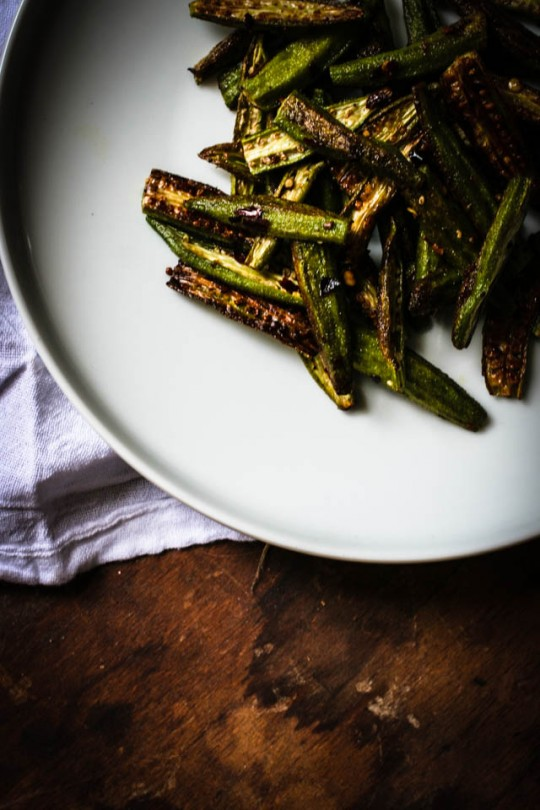 Roasted Okra http://fortheloveofthesouth.com/2013/08/12/august-mornings-okra/