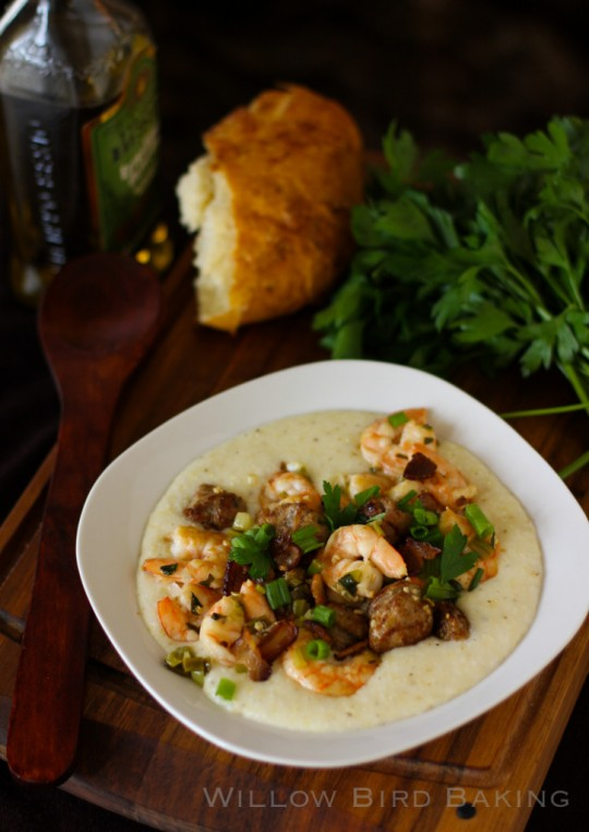 Shrimp and Grits http://willowbirdbaking.com/2013/10/16/shrimp-and-grits-with-creamy-white-cheddar-grits/