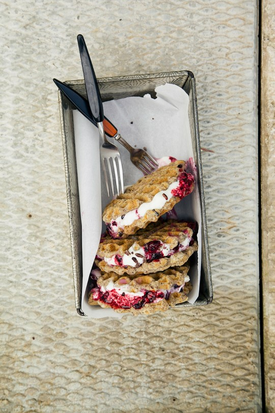 vanilla bean waffle ice cream sammies w/ maple berry mash http://www.thefirstmess.com/2013/09/04/vanilla-vegan-gluten-free-waffle-ice-cream-sammies-recipe/